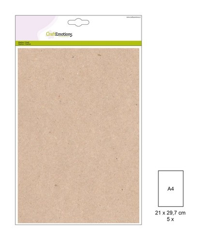 Craft Emotions Kraft Cardstock - A4 formaat - lichtbruin