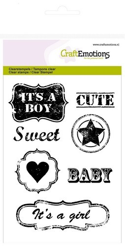Craft Emotions Clearstamps - Vintage Baby Text Labels