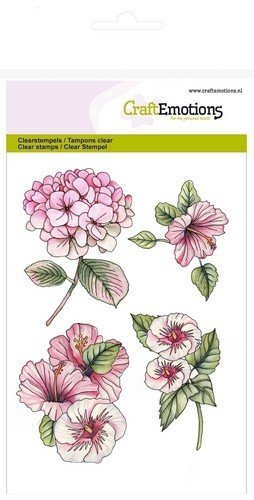 Craft Emotions Clearstamps A6 - Hortensia en Hibiscus