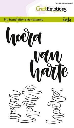Clearstamps Craft Emotions - Handletter - hoera van harte