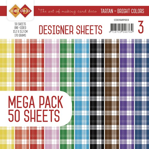 Card Deco Designer Sheets Mega Pack 3 - Tartan - bright colors
