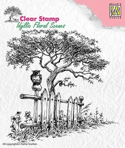Clearstamp Nellie Snellen - Idyllic Floral Scenes - tree with fence