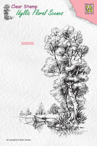 Clearstamp Nellie Snellen - Idyllic Floral Scenes - tree with boat