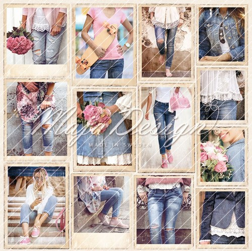 Scrappapier Maja Design - Denim & Girls - girls in jeans